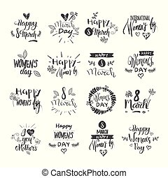 Happy Women Day Lettering Set Grunge Ink Badges And Stickers On White Background