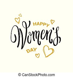 Happy Women Day Seal With Hand Drawing Calligraphy Gold Hearts On White Background