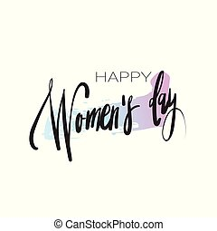 Happy Women Day Sticker Creative Hand Drawn Calligraphy On White Background