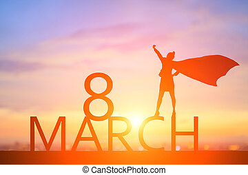 super business hero people with happy women day concept