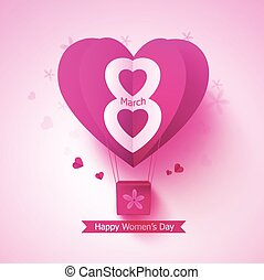 Happy women day vector design concept with flying paper cut balloon