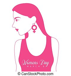 Happy women day with a girl silhouette