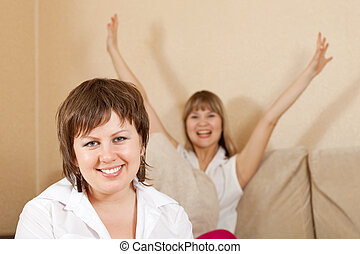 happy  women in home