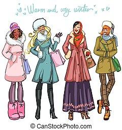 Happy women in winter clothing.