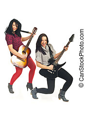 Happy women playing guitars