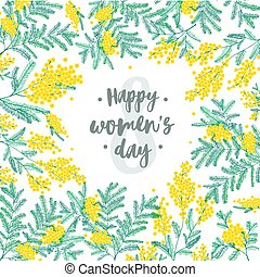 Happy Women s Day festive wish against figure eight on background surrounded by beautiful blooming yellow mimosa flowers and green leaves. Elegant vector illustration for 8 march greeting card.