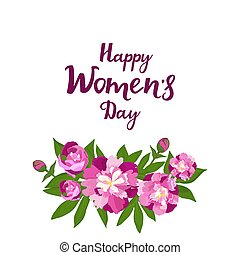 Happy Women s Day. Greeting card with peonies