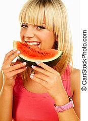 Happy women with fruits - Happy beautiful women holding ...