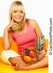 Happy women with fruits