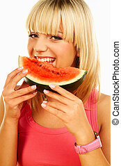 Happy women with fruits - Happy beautiful women holding...