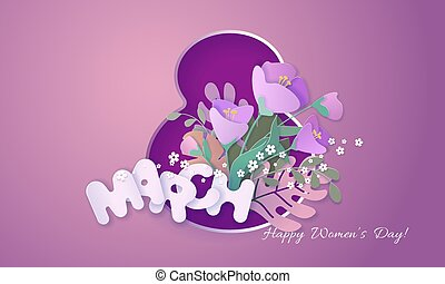 Happy womens day 8 March card paper cut style.