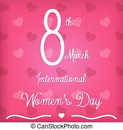 happy women's day - a pink background with hearts and text ...