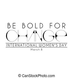 Happy Womens Day - Abstract black mnemonic design on white...