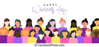 Happy Women's Day banner of women community