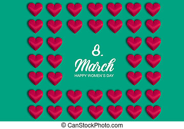Happy women's day banner with red heart on romantic green background.