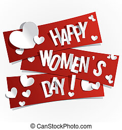 Happy Women's Day Banners With Hearts vector illustration