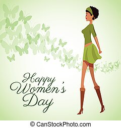 happy womens day card beauty girl green dress