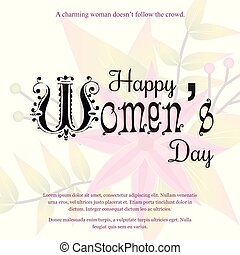 Happy Women's day card with light background vector