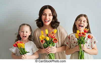 Happy women's day! Children are congratulating mom and ...