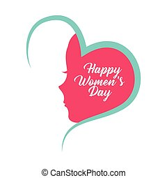 happy womens day card with heart icon over white background. colorful design. vector illustration