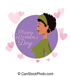 happy womens day girl curly hair card purple hearts image