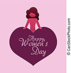 happy womens day girl heart greeting