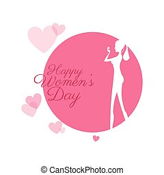 happy womens day girl with hearts