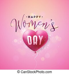 Happy Womens Day Greeting card. International Holiday Illustration with Air Balloon and Typography Design on Pink Background. Vector Spring 8 March Celebration Template.