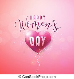 Happy Womens Day Greeting card. International Holiday Illustration with Red Balloon Heart Design on Pink Background. Vector 8 March Spring Template.