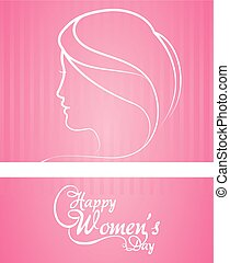 happy womens day greeting card pink background