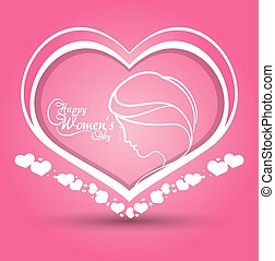 happy womens day heart girl pink background