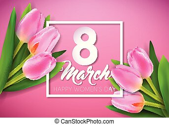 Happy Women's Day Illustration with Tulip Bouquet and 8...