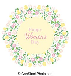 Happy Women's Day. March 8. Flower and herbage wreath. Design for a holiday sale, greeting cards, flyers, invitations.