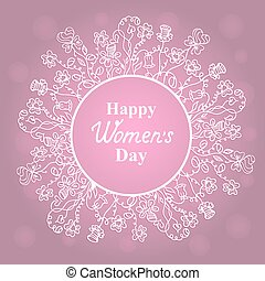 Happy Women's Day. March 8. Flower frame. Concept design for a holiday sale, greeting cards, stickers, invitations.