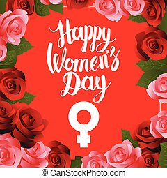Happy Womens Day postcard with lettering