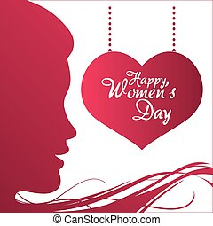 happy womens day profile girl heart hanging poster