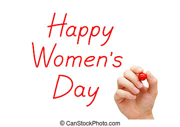 Hand writing Happy Womens Day with red marker on transparent wipe board.