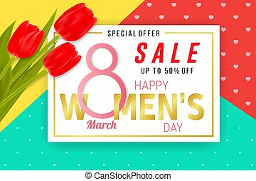 Happy Womens Day sale background with tulips.