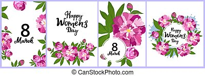 Happy Women's Day set of greeting cards. 8 March posters or banner design with peonies. Flowers in bloom. Floral frame