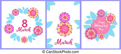 Happy Women's Day set of greeting cards. 8 March posters or banner design with spring flowers in bloom in the paper cut style. Floral frame