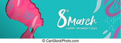 Happy Womens Day web banner of african woman head