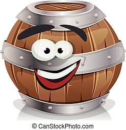 Happy Wood Barrel Character - Illustration of a cartoon...