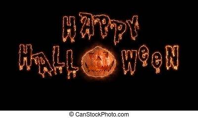 Happy Word Halloween haunted pumpkin background. Black background