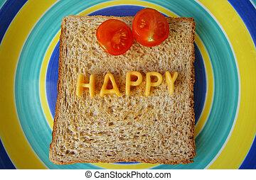 happy word on toast