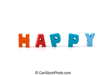 happy word on wood blocks isolated on white