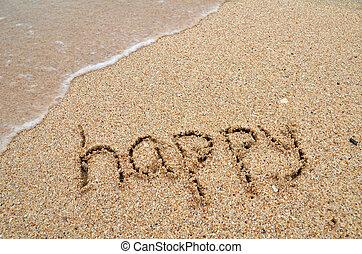 Happy word written on sandy the beach