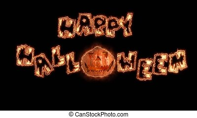 Happy Words Halloween title fire animation. Black background...