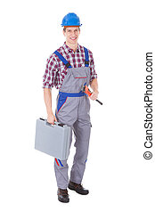 Worker Holding Toolkit And Wrench - Happy Worker Holding...