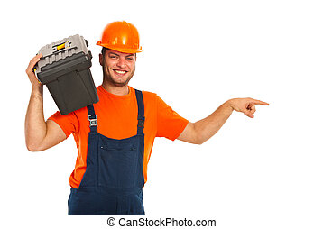 Happy worker man indicate - Happy worker man with box on...