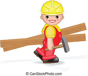 Happy worker with hammer and planks - Cheerful smiling...